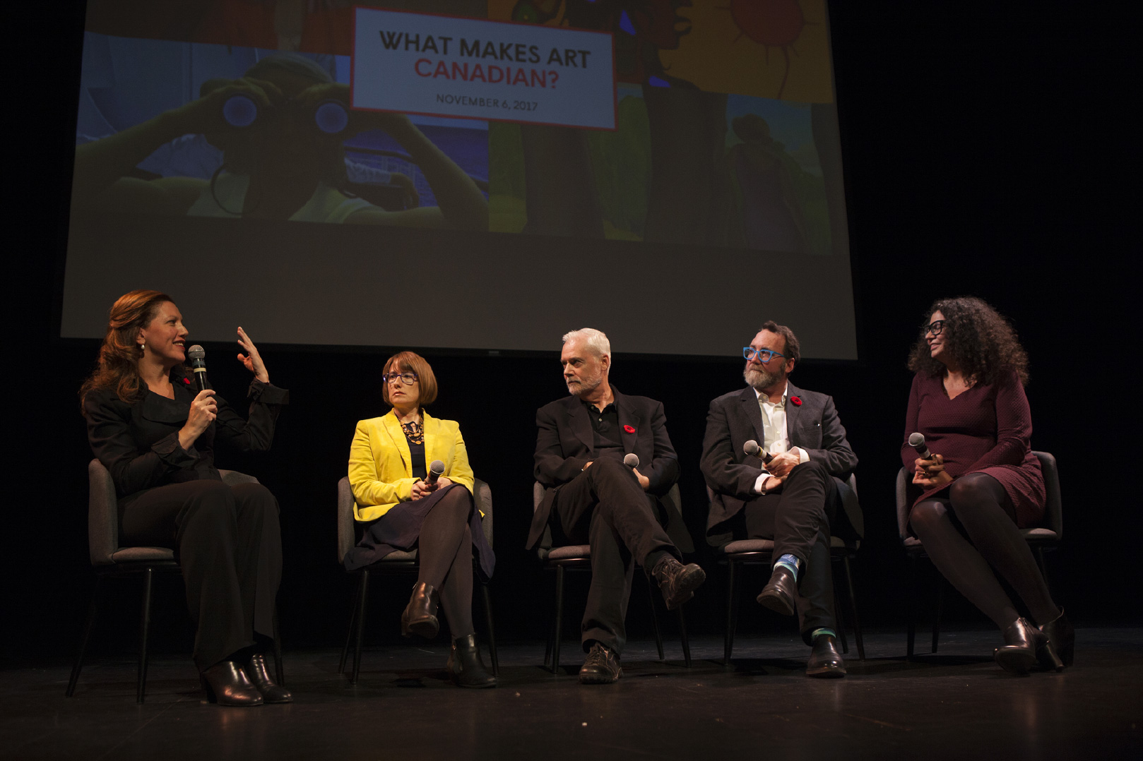 Sara Angel with Art Canada Institute authors at What Makes Art Canadian lecture November, 2017